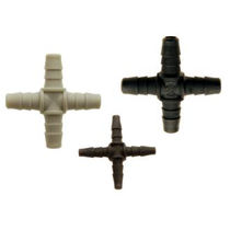 Barbed fitting / cross / pneumatic / polypropylene