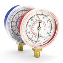 Pressure gauge / liquid-filled Bourdon tube / analog / HVAC / process
