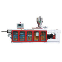Tube extruder / profile / for PVC / conical twin-screw