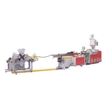 Tube extrusion line / for thermoplastics / for corrugated pipe