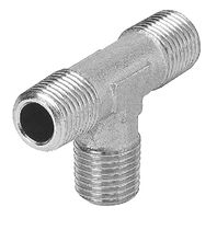 Threaded fitting / T / brass / nickel-plated brass