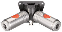 Push-to-lock fitting / Y / pneumatic / wall-mounted