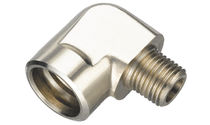 Screw-in fitting / 90° angle / hydraulic / nickel-plated brass