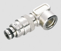 Push-in fitting / pneumatic / 90° angle / nickel-plated brass