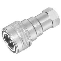 Push-to-lock fitting / hydraulic / straight / zinc-plated steel