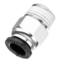 Push-in fitting / pneumatic / straight / nickel-plated brass