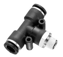 Push-in fitting / T / pneumatic / nickel-plated brass