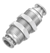 Push-in fitting / hydraulic / straight / nickel-plated brass
