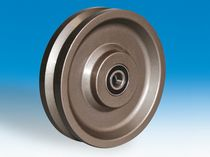 Monobloc wheel / steel / rail-mounted / grooved