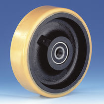 Wheel with solid tire / polyurethane / cast iron / for heavy loads