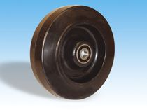 Wheel with solid tire / rubber / for materials handling / shock absorbing