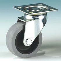 Swivel caster / base plate / elastic / with brake