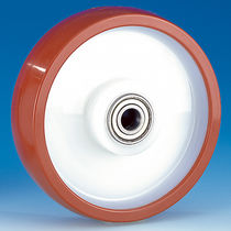 Wheel with solid tire / polyurethane / nylon / for materials handling