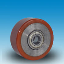 Wheel with solid tire / polyurethane / cast iron / for conveyors