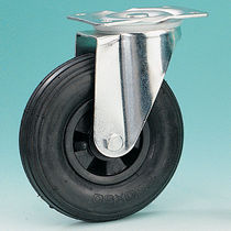 Swivel caster / base plate / steel / rubber