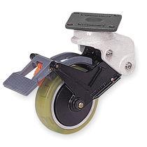 Swivel caster / base plate / shock absorbing / zinc-coated steel