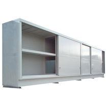 Storage cabinet / floor-mounted / sliding door / metal