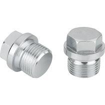 Round plug / threaded / steel / with hexagonal head