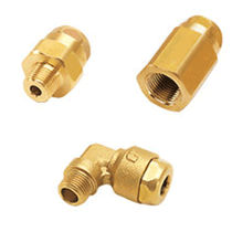 Threaded fitting / hydraulic / elbow / brass