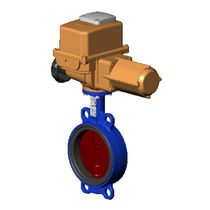 Butterfly valve / electrically-actuated / for water / for compressed air