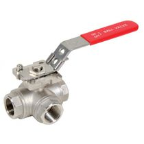 3-way valve / ball / lever / for water