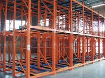 Flow storage shelving / push-back / for heavy loads / high-rise