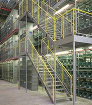 Multi-tier industrial mezzanine / for pallets