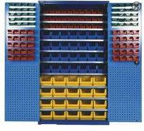 Hinged door cabinet / floor-standing / steel / with bins