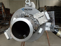 Orbital pipe cutting and beveling machine