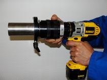 Compact tube squaring machine