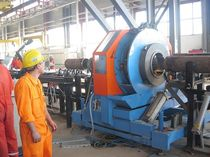 Stationary squaring-beveling machine / for pipe ends