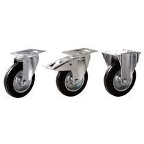 Swivel caster / base plate / steel / rubber