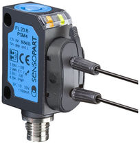 Diffuse reflective photoelectric sensor / rectangular / fiber optic
