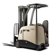 Electric forklift / stand-on / indoor / handling