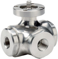 Ball valve / lever / stainless steel / 3-way