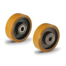 Wheel with solid tire / polyurethane-coated / cast iron / for heavy loads