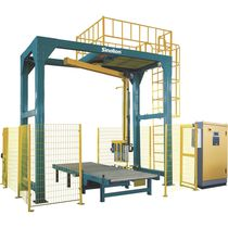 Rotary arm stretch wrapper / automatic / pallet / with conveyor