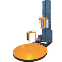 Turntable stretch wrapping machine / automatic / for pallets / stretch film