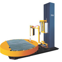 Turntable stretch wrapping machine / automatic / for pallets / with free roller conveyor