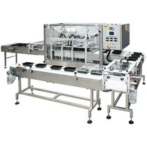 Linear tray sealer / automatic / vacuum