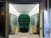 Paint booth for railway applications