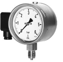 Bourdon tube pressure gauge with alarm contact DMU series Armaturenbau