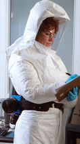 chemical protective clothing: suit with powered air-purifying respirator (PAPR) RT Series Bullard