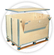 collapsible plywood and steel pallet-box  Nefab