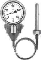 dial gas expansion thermometer with capillary TFCh / TFChG Armaturenbau
