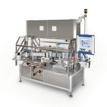 in-line automatic bottle labeler for front-back applications HERMA 362 M HERMA