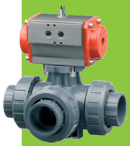 pneumatically actuated 3-way ball valve DN 10 - 50, max. 16 bar | TKD/CP FIP - Formatura Iniezione Polimeri