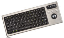 stainless steel industrial keyboard with trackball DBL-810-TB IKEY Industrial Peripherals