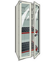 "tool storage cabinet with transparent doors 36"" x 24"" x 87"" 