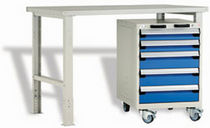 workbench with 5 drawers 60'' x 30'' x 34'', 400 lb | R5WH5-1101 Rousseau Metal